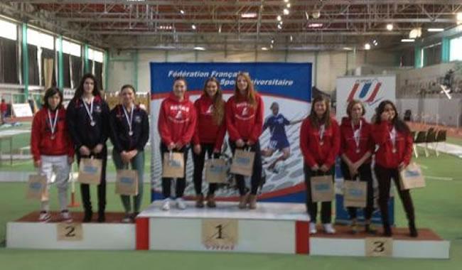 Podium fleuret dames, l'équipe PULV vice-championne de France !