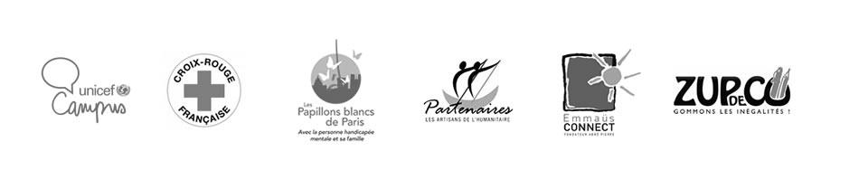 L'Unicef, la Croix-Rouge, Les Papillons Blancs, Artisans de l'humanitaires, Emmaüs connect, Zup de co... les structures qui accueillent des jeunes de l'EMLV pour leur mission solidaire