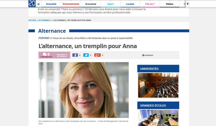 aprentissage ecole commerce - Anna, promo 2014, titularisée après son contrat d'apprentissage : témoignage dans 20 minutes !
