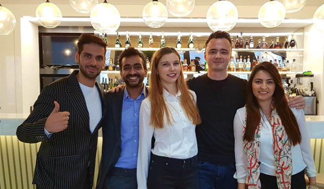 The five MBA students taking part in the Pernod Ricard challenge